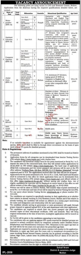 District and Session Court Multan Jobs 2020