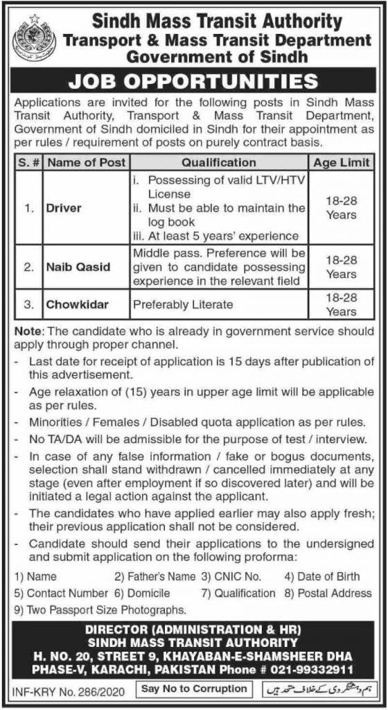 Sindh Mass Transit Authority jobs 2020