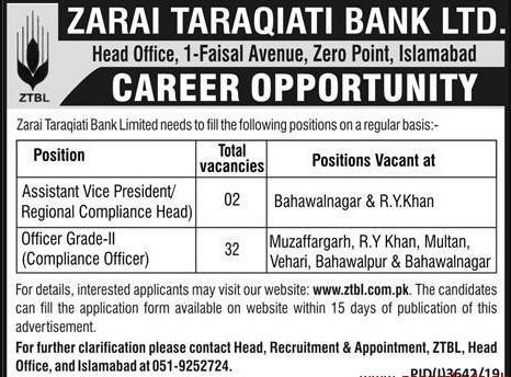 ZTBL Jobs February 2020