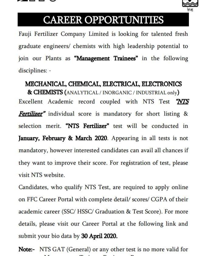FFC Management Trainee Jobs 2020