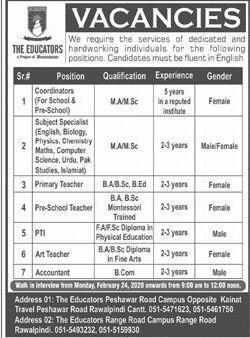The Educators Peshawar Jobs 2020