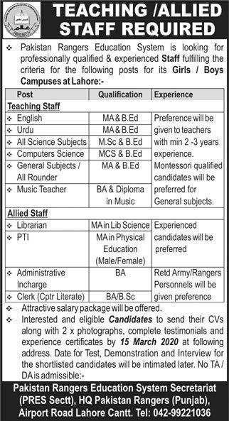 Pakistan Rangers Education System Jobs 2020