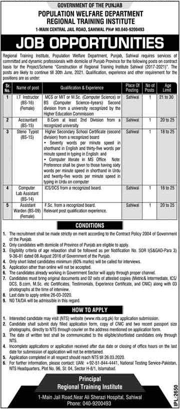 Population Welfare Department Punjab Jobs March 2020