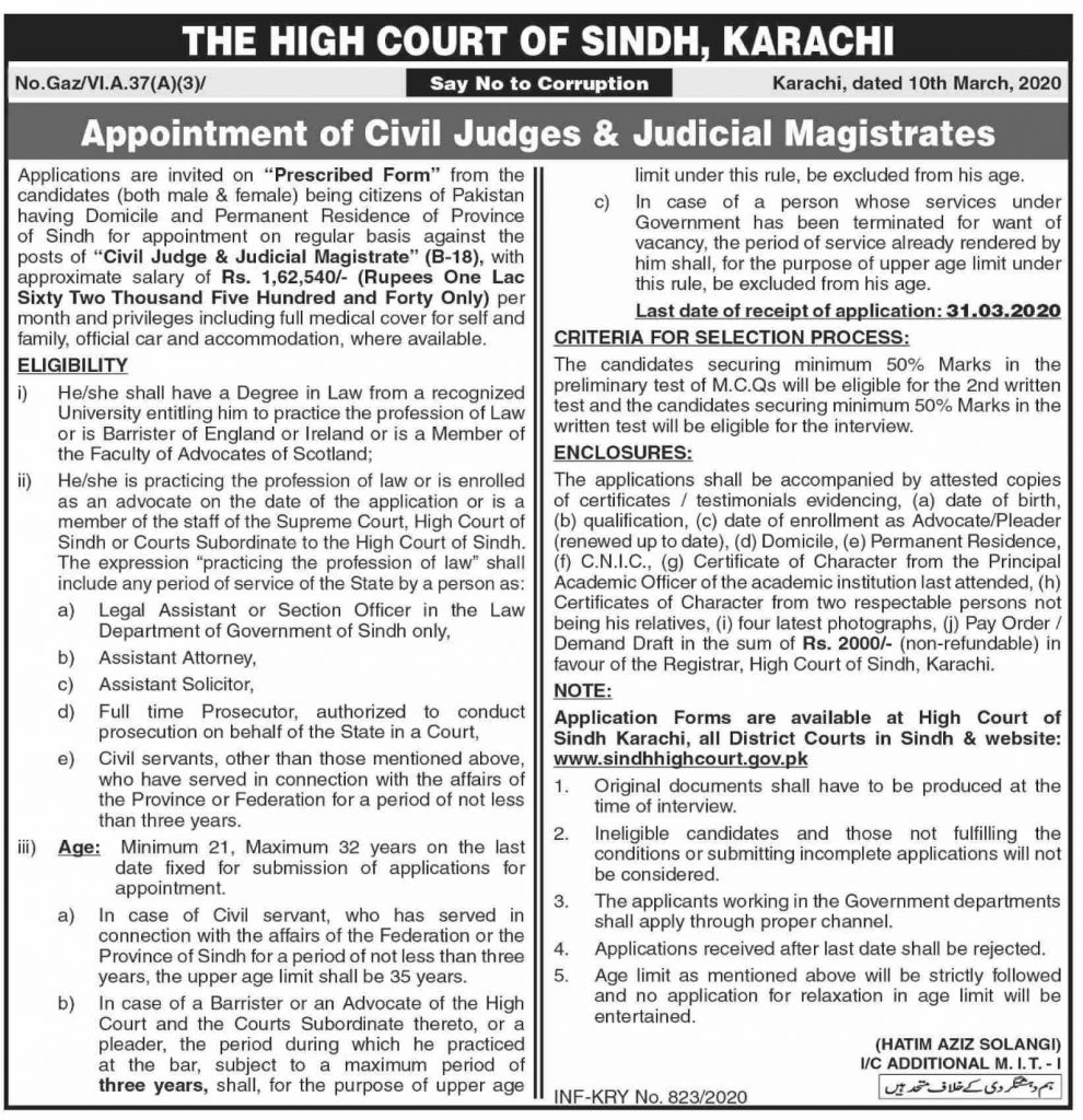 Sindh High Court Jobs March 2020