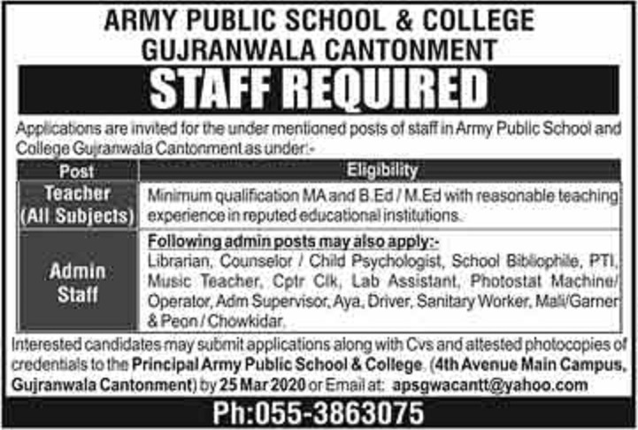 Army Public School and College Gujranwala Cantonment Jobs 2020