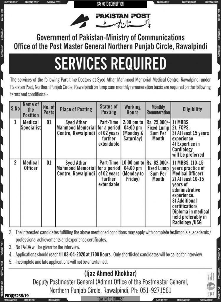 Pakistan Post Jobs March 2020