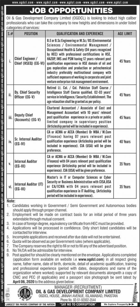 OGDCL Isamabad Jobs 2020