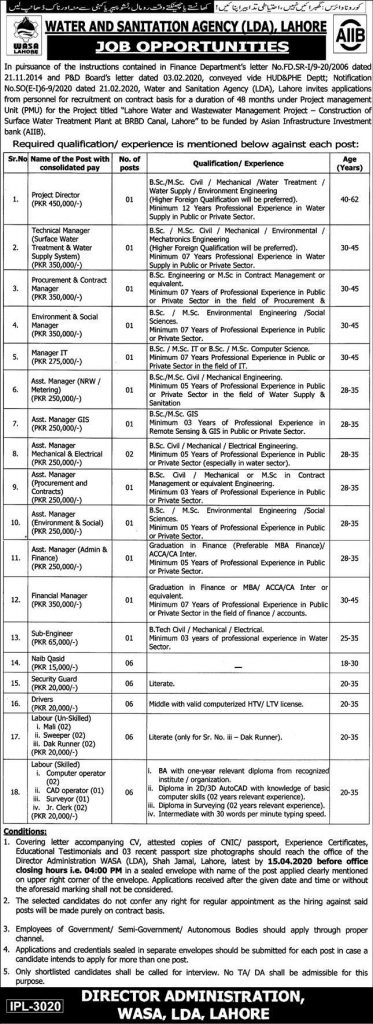 WASA Lahore Jobs March 2020