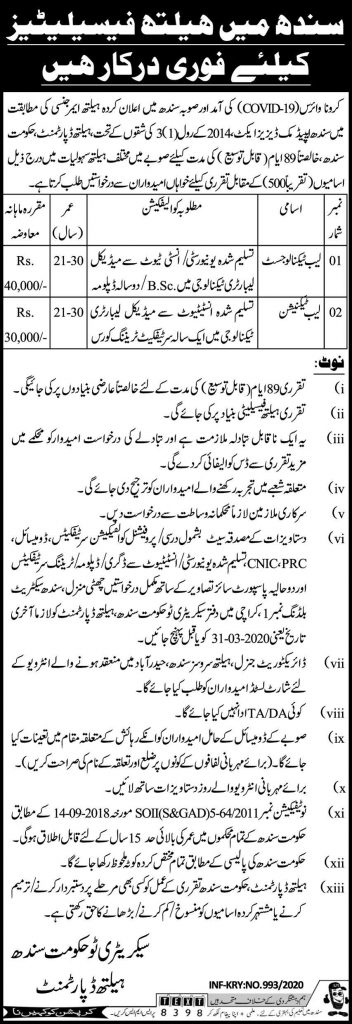 Health Department Sindh Jobs March 2020