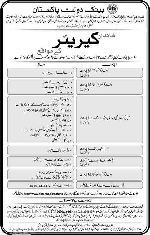 State Bank of Pakistan Jobs March 2020