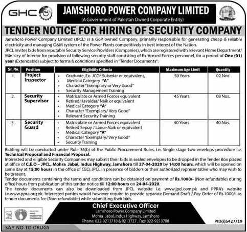 Jamshoro Power Company Ltd Jobs March 2020