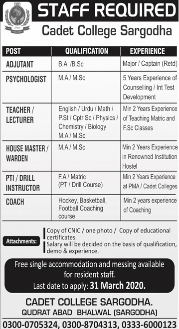 Cadet College Sargodha Jobs 2020