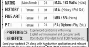 Aligarh Public School & College For Women Lahore Jobs 2020
