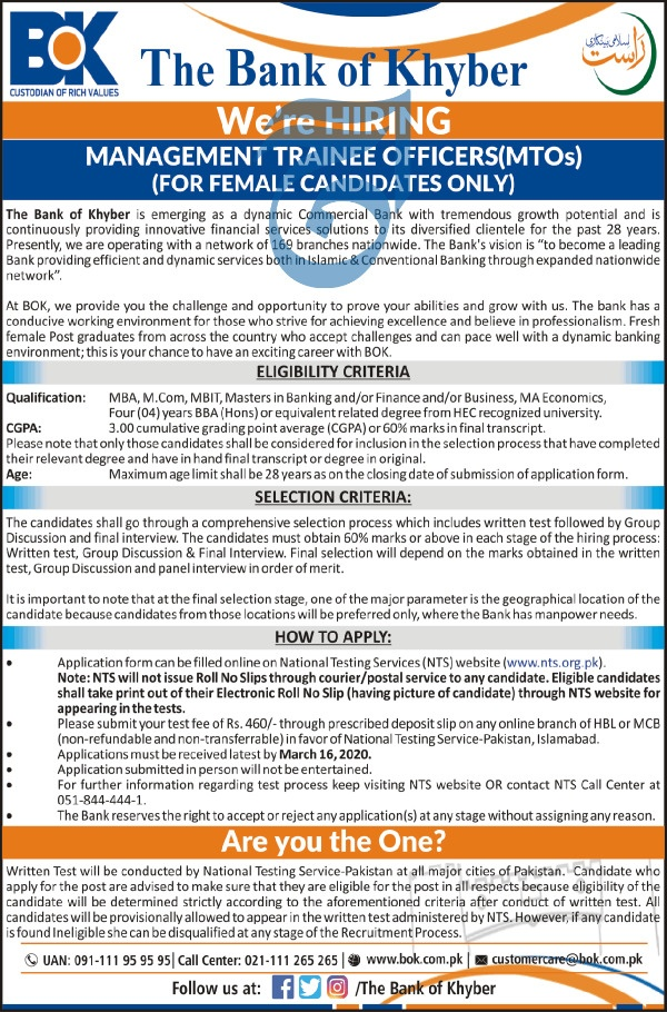 Bank of Khyber MTO Jobs 2020