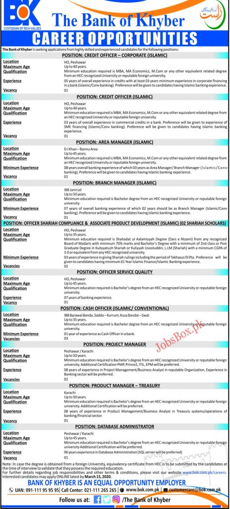 Bank of Khyber Jobs 2020