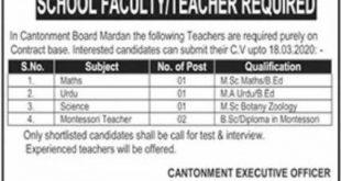 Cantonment Board Mardan Jobs 2020