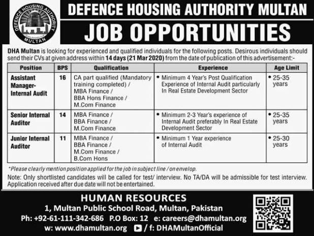DHA Multan Jobs 2020 Latest NewAdvertisement, Defence Housing Authority Multan job 2020