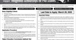 HEC Indigenous Scholarship Program 2020
