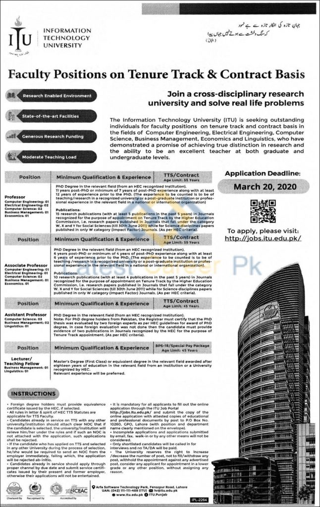 ITU University Lahore jobs 2020