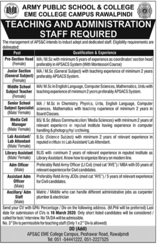 APS&C EME College Campus, Rawalpindi Jobs 2020