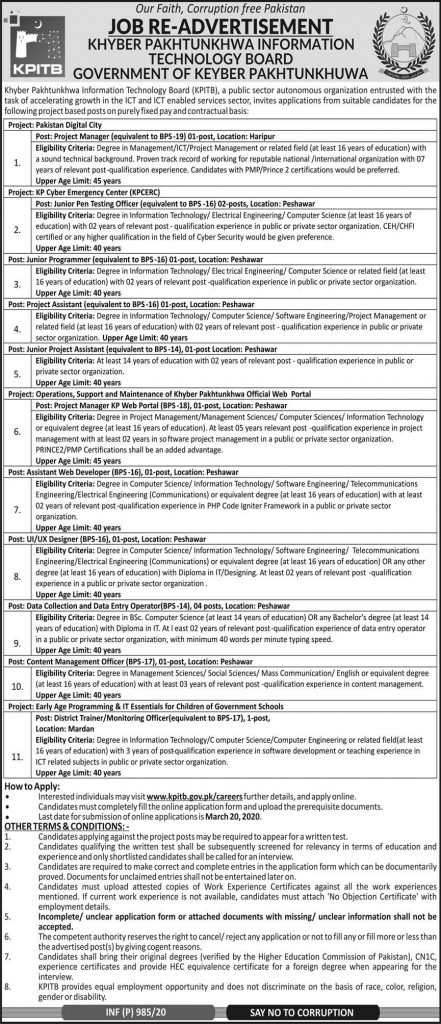 KPIT Board Jobs 2020 for Project Managers, Data Entry Operators, Project Assistants, PT Officers & Others Latest | Khyber Pakhtunkhwa Information Technology Board