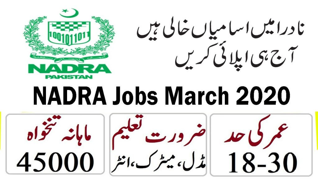 NADRA Jobs March 2020