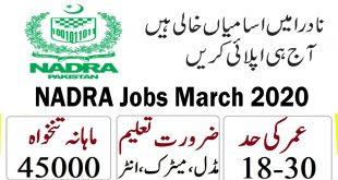 NADRA Jobs March 2020