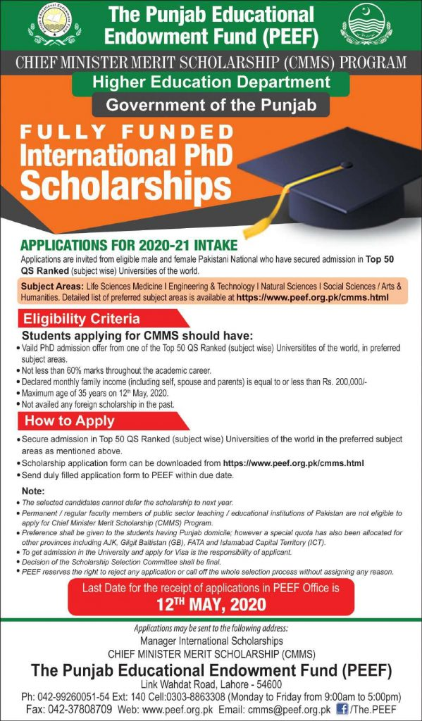 PEEF International PhD Scholarship 2020-21