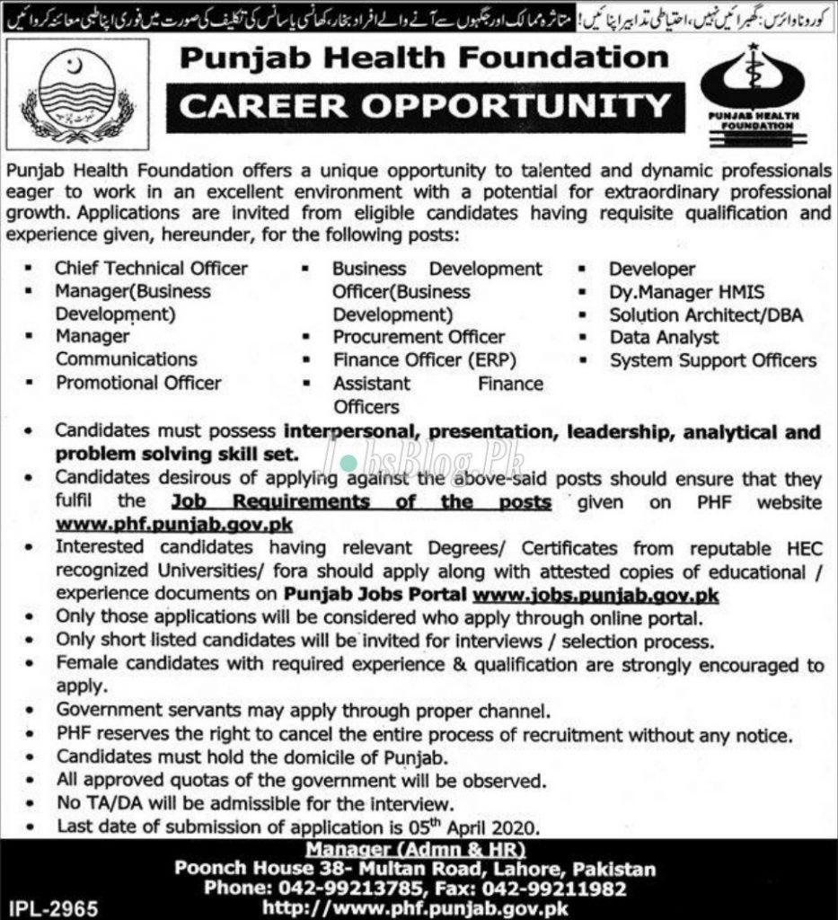 Punjab Health Foundation Jobs 2020