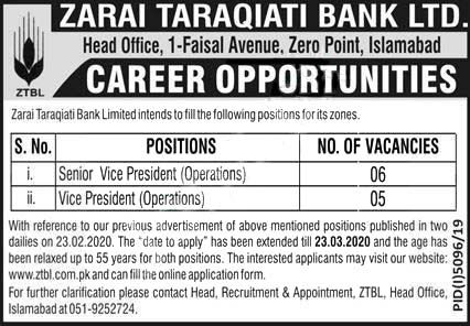 ZTBL Jobs 2020 Islamabad - Male & Female Both - Advertisement Latest Online Application