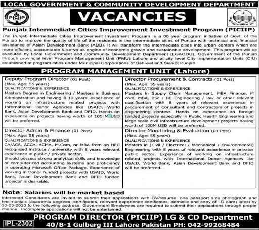 Local Government and Community Development Department, Punjab Jobs 2020
