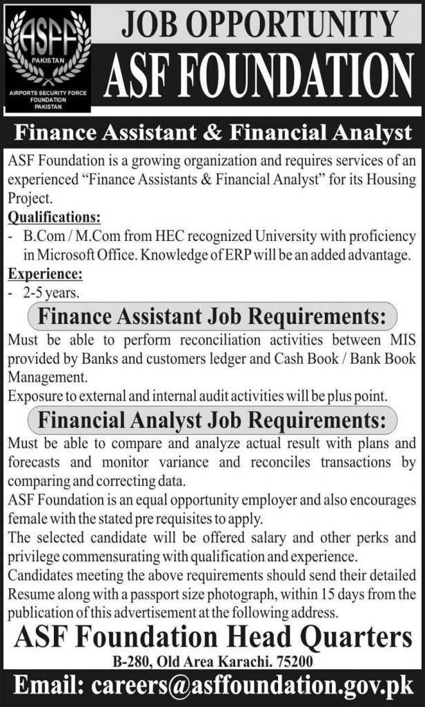 ASF Foundation Pakistan Jobs 2020