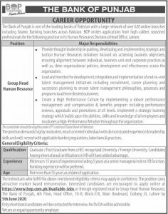Bank of Punjab Jobs 2020
