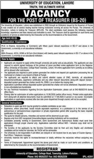 University Of Education Lahore Jobs May 2020