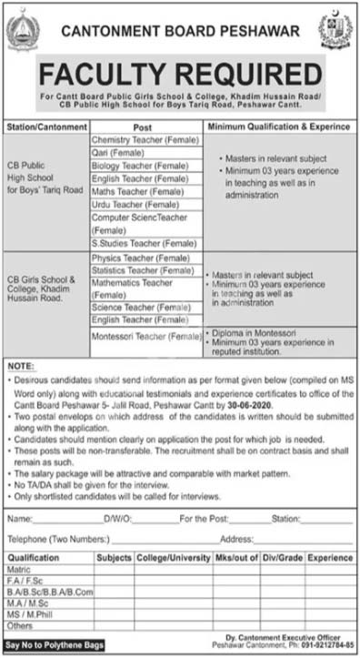 Cantonment Board Peshawar Jobs 2020