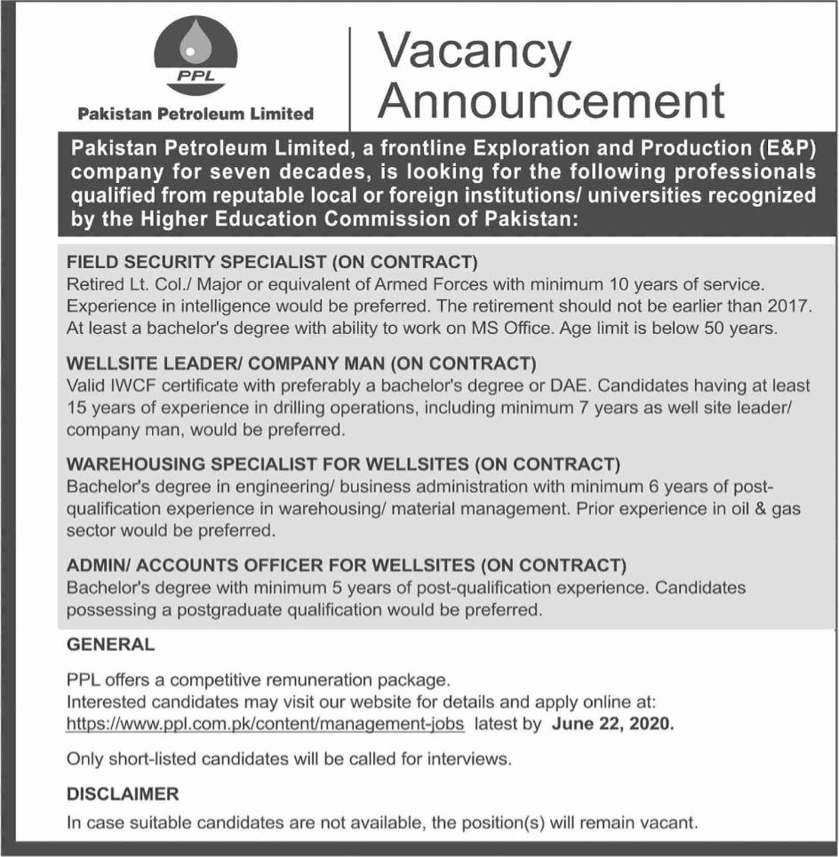 PPL Jobs June 2020