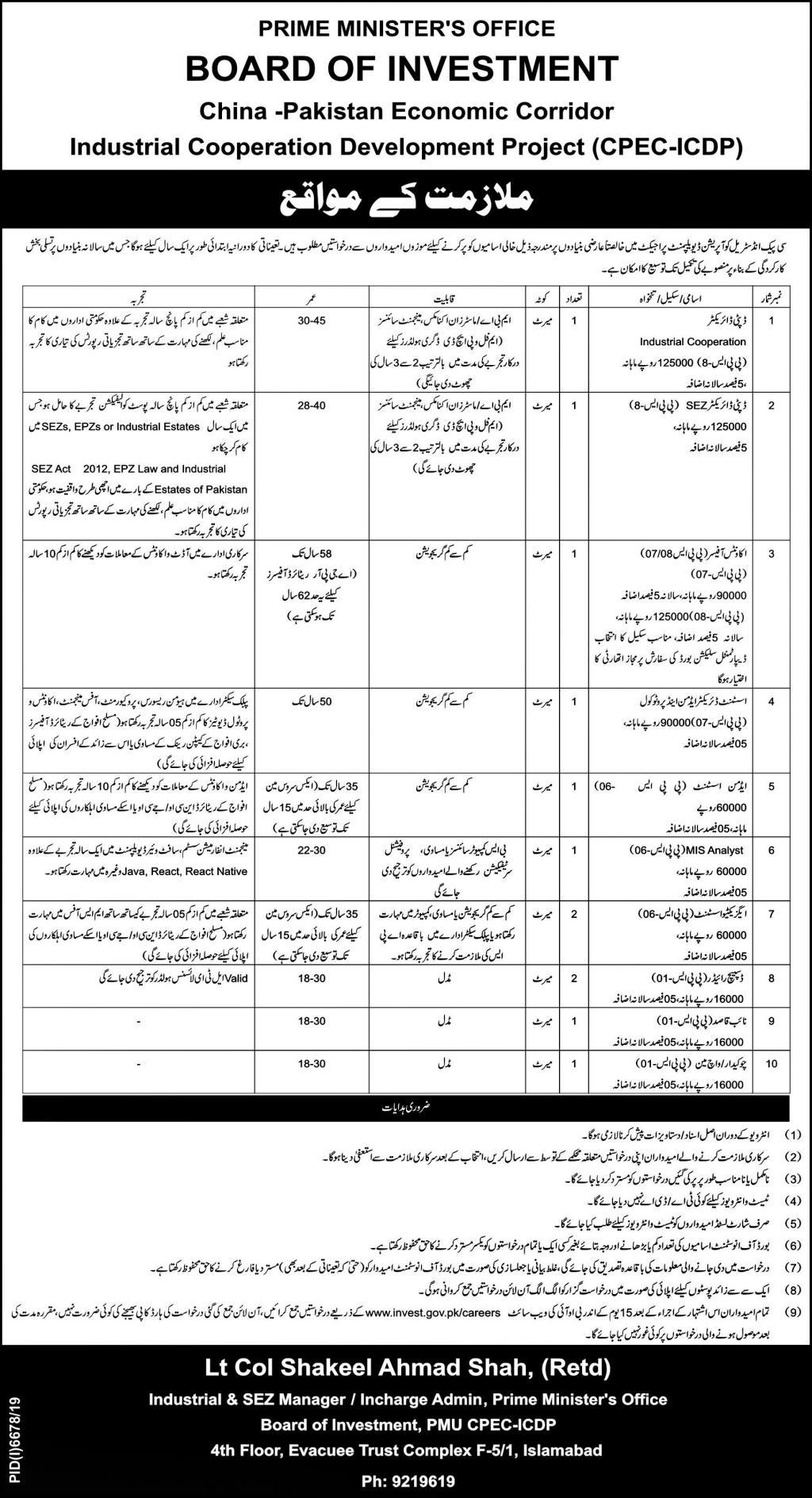 CPEC Jobs June 2020