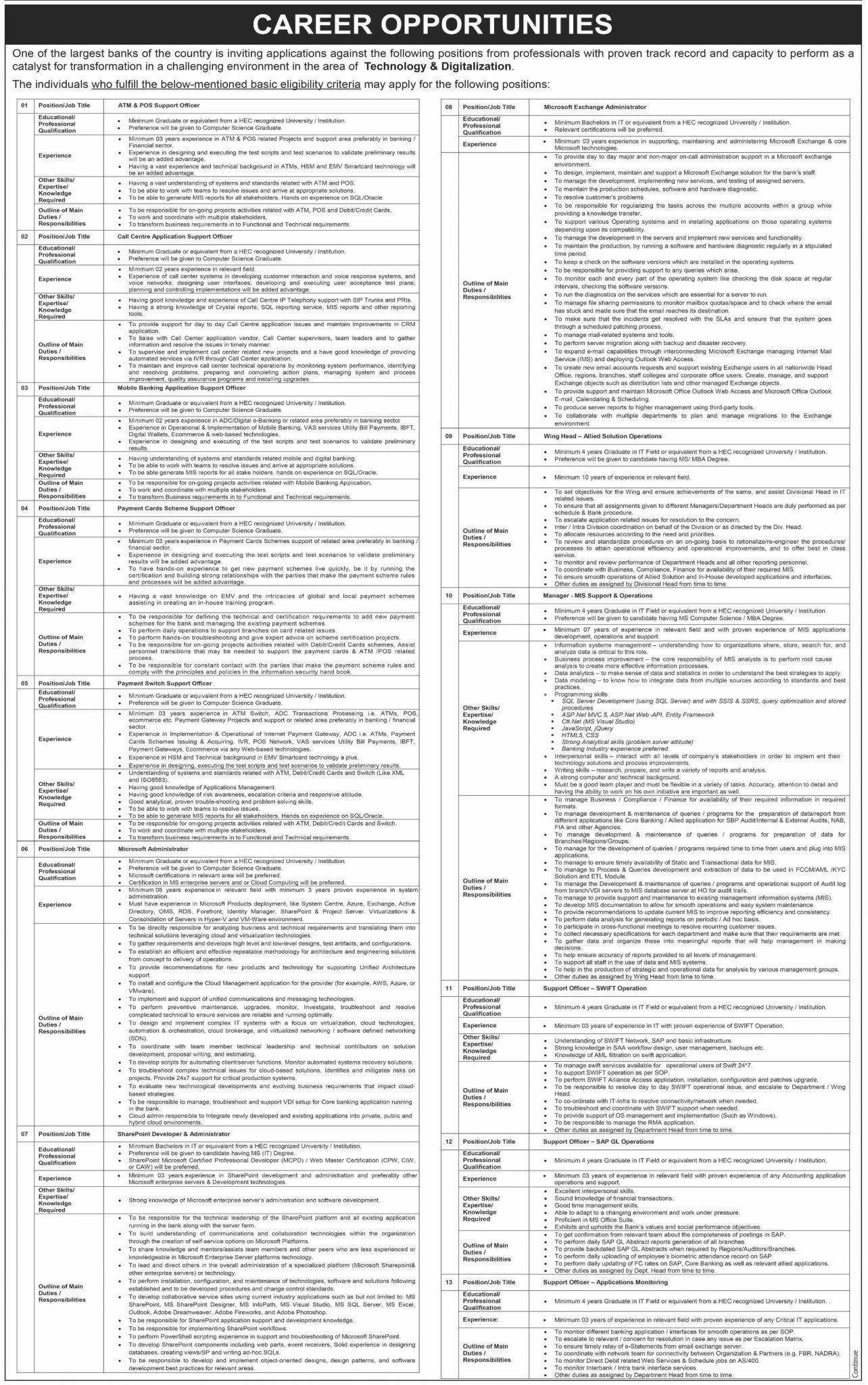 NBP Jobs June 2020