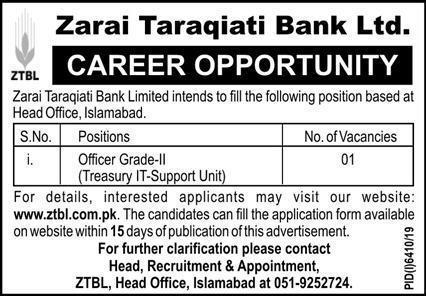 ZTBL Jobs June 2020