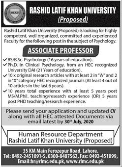 Rashid Latif Khan University Jobs July 2020