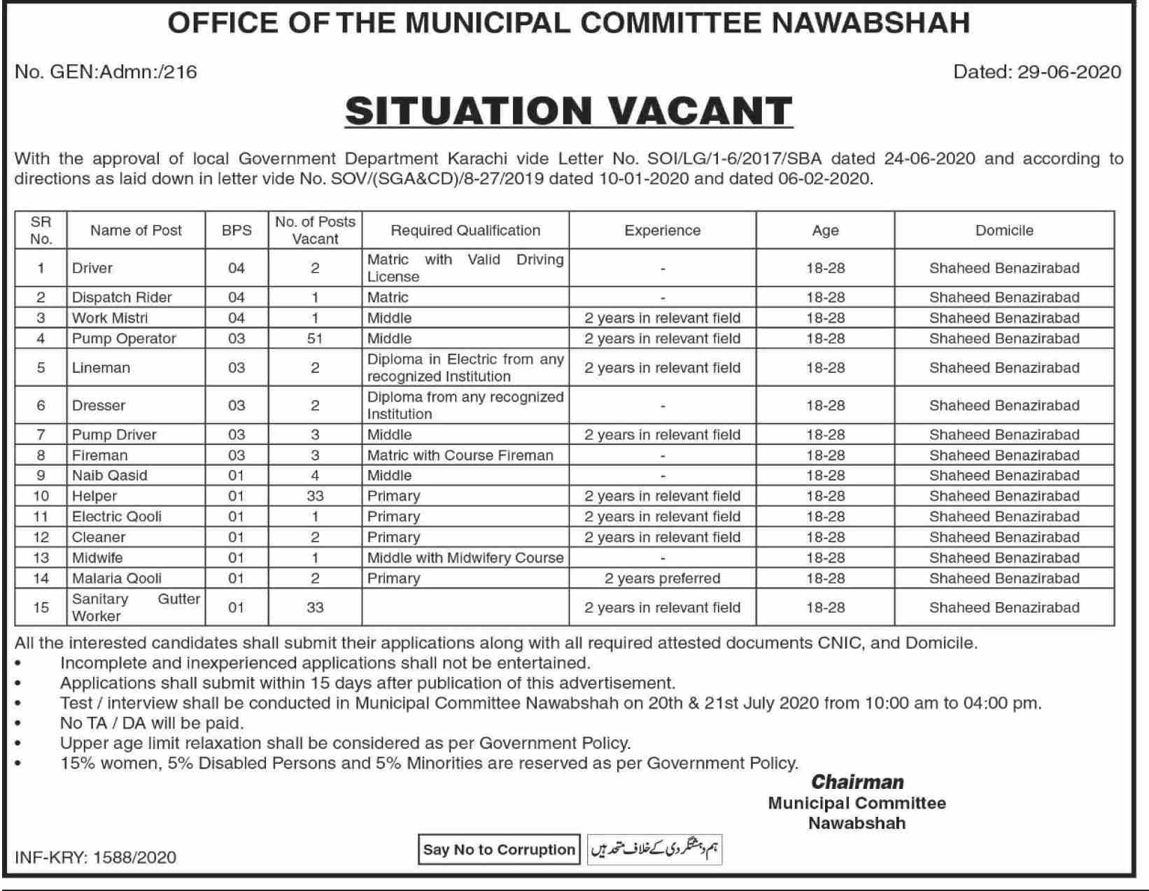 Office Of The Municipal Committee Jobs July 2020