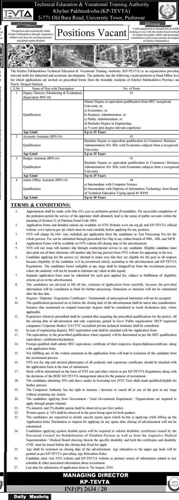 TEVTA Jobs July 2020
