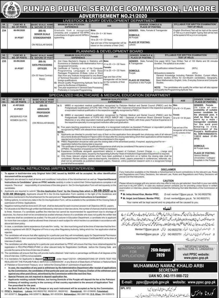 PPSC Jobs Advertisement No. 21/2020