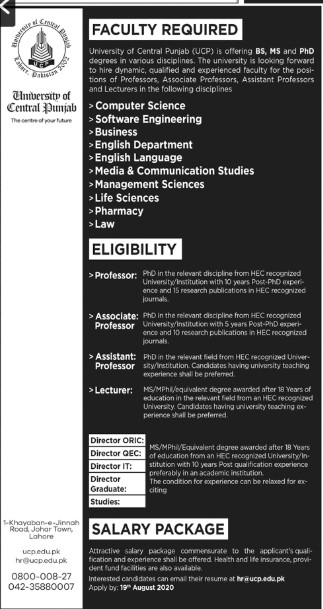 University of Central Punjab Faculty Jobs 2020