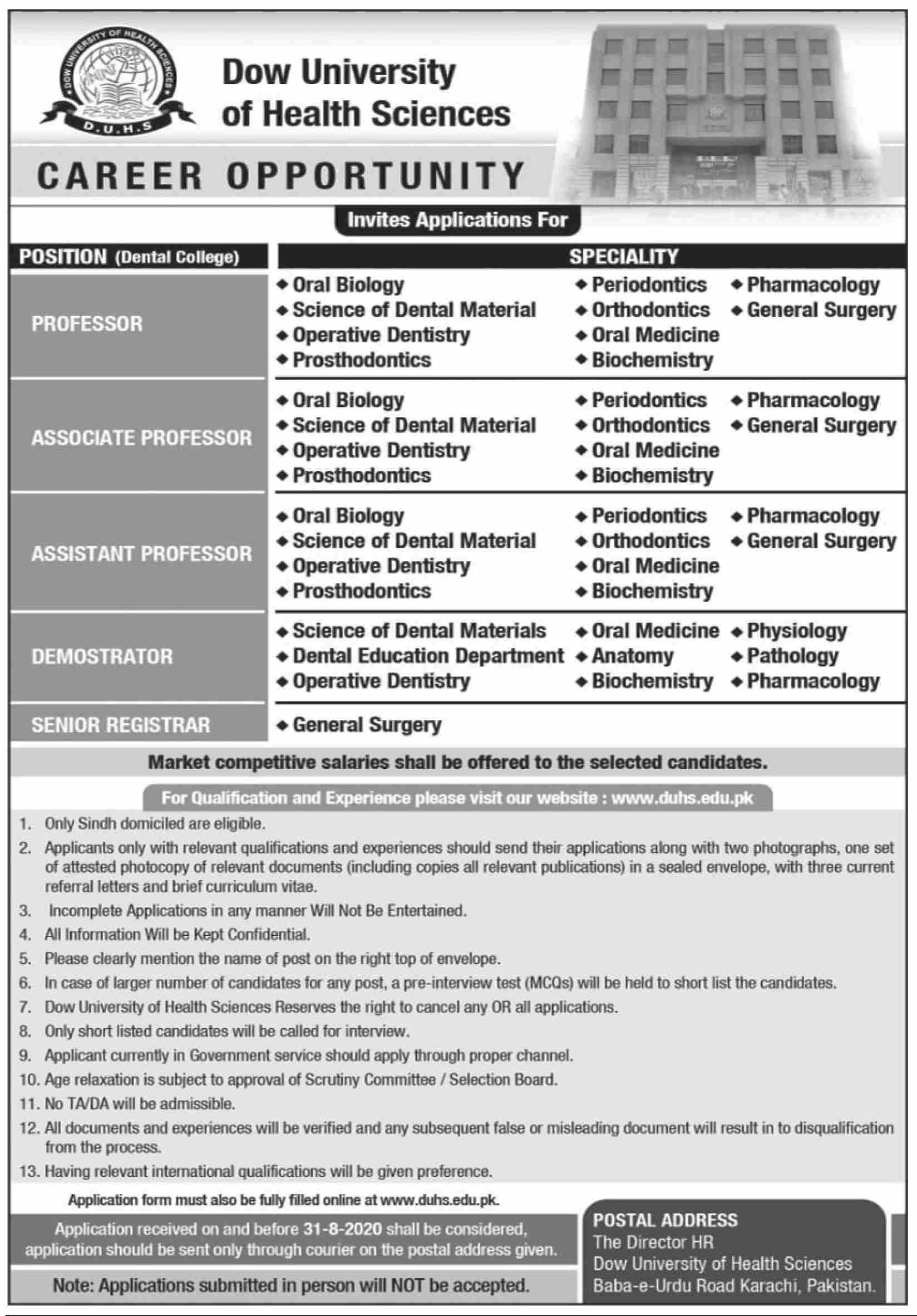 Dow University of Health & Sciences DUHS Jobs August 2020
