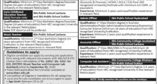 Directorate of IBA Community Colleges & Schools Jobs August 2020