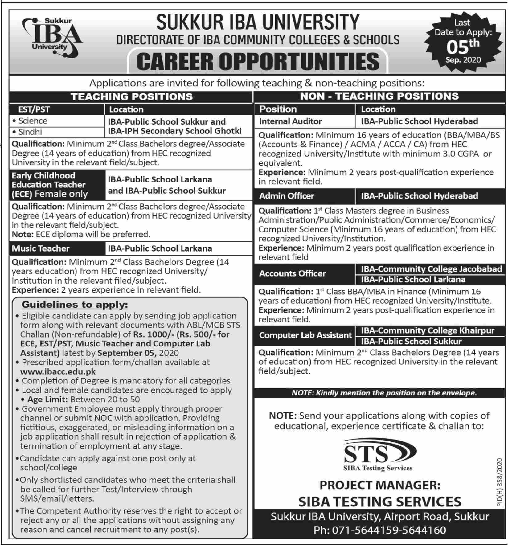 Directorate of IBA Community Colleges & Schools Jobs August 2020