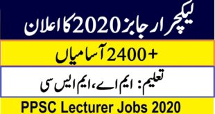 Lecturer Jobs 2020 by PPSC
