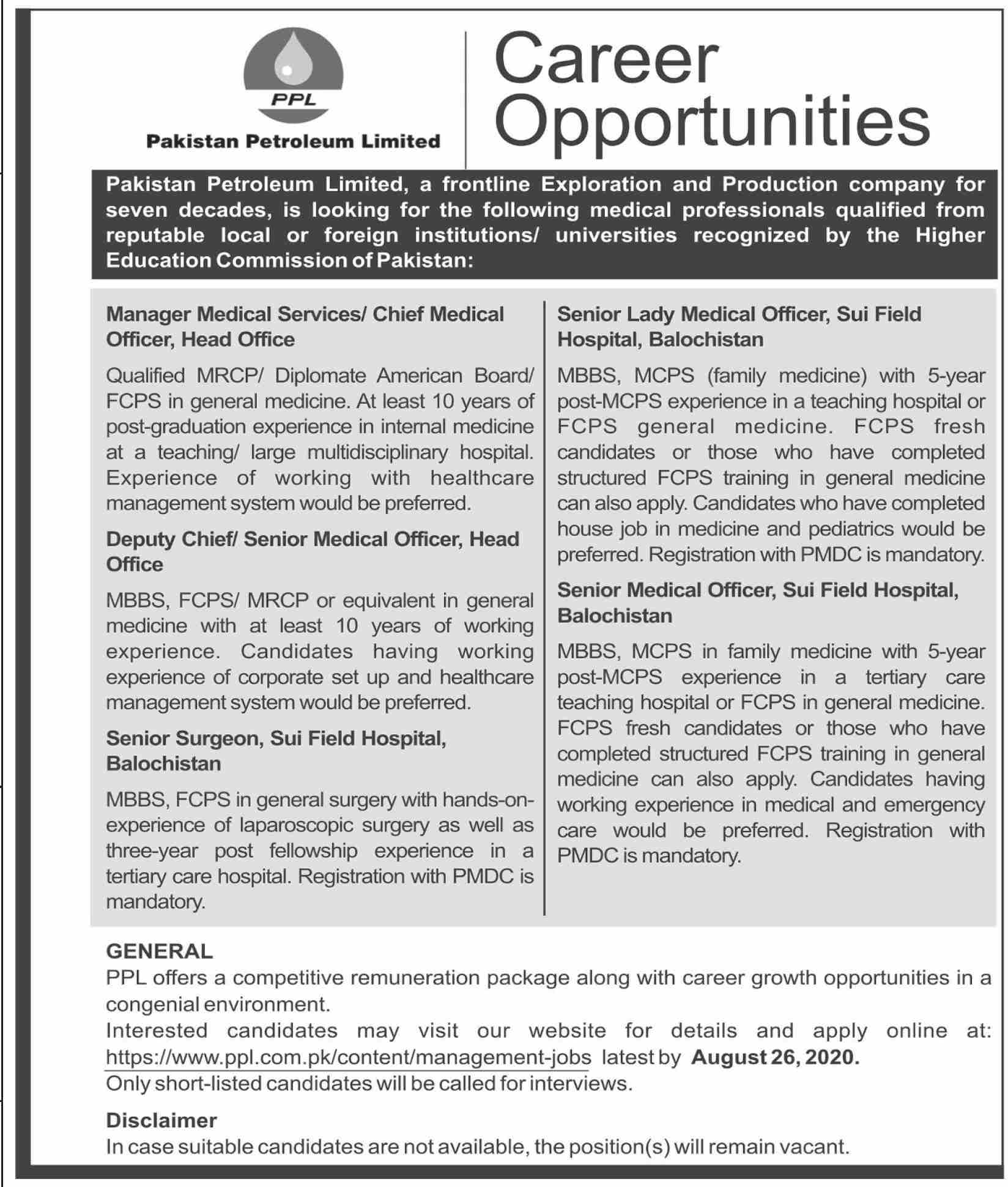 Pakistan Petroleum Limited PPL Jobs August 2020