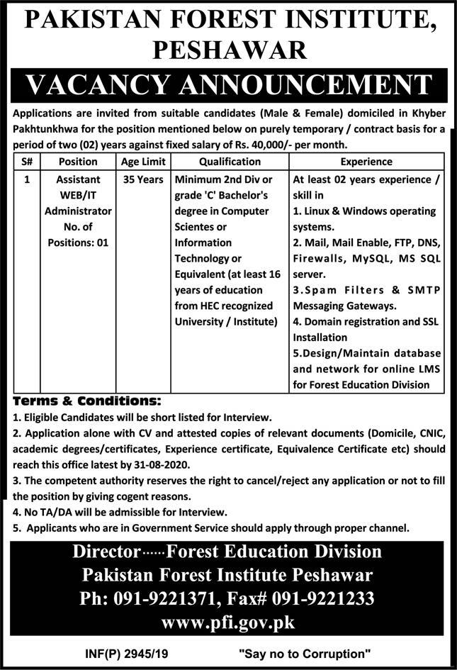 Pakistan Forest Institute PFI Jobs August 2020